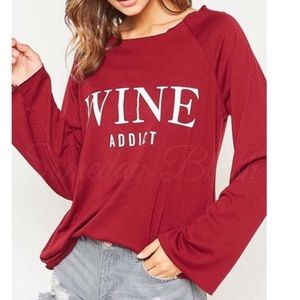 Someday Blush Tops - Wine Addict Graphic Long Sleeve Top